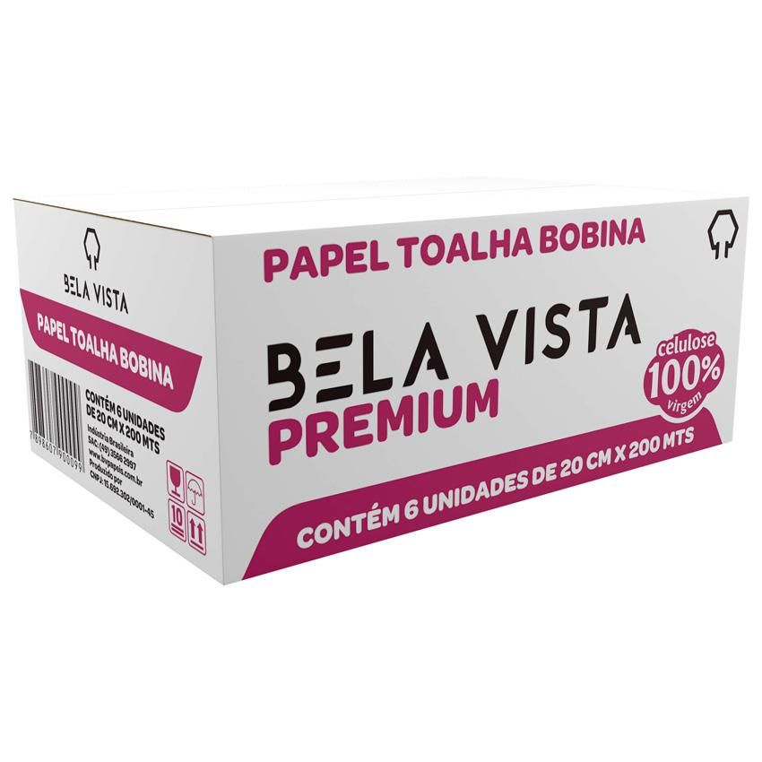 Papel Toalha Bobina Premium 20cmx200m 100% celulose 38g CX 6 RL - Bela Vista