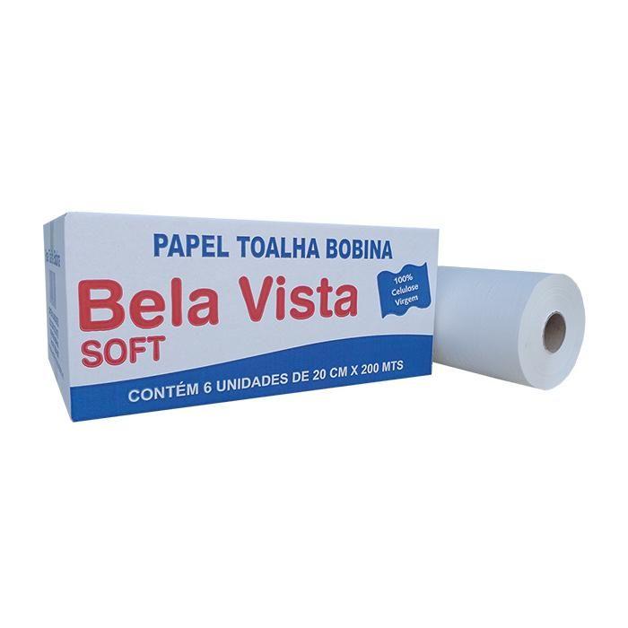 Papel Toalha Bobina Soft 20cmx200m 100% celulose 32g CX 6 RL - Bela Vista