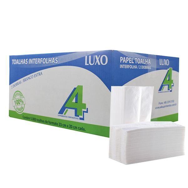 Papel Toalha Interfolha 2 dobras Extra Luxo 23x20cm Caixa 5000fls A4